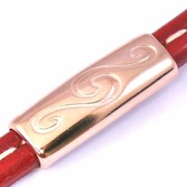 DQ metaal ROSE GOUD kraal REGALIZ boog tube sierlijk 14x39mm gat 7x10mm (B01-036-RG)