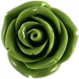 kraal roos 15mm  kleur licht olijfgroen (BK7085)