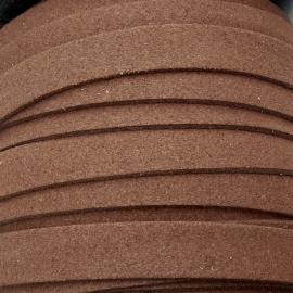imitatie suede veter 10mm breed kleur bruin - 20cm