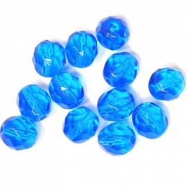 (BJBL-004) glaskraal rond facet geslepen 8mm donkerblauw  - 10 stuks