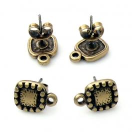 DQ metaal Bras Antique oorbel oorsteker met vierkant ballframe en oogje per paar (B05-035-BA)