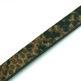 DQ professional platte leerband 10mm breed en 2,6mm dik, 20cm lang snake bruin (PL10-HLP-22)