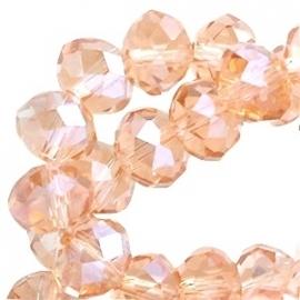glaskraal facet 6x8mm light peach (BK17821) - 21 stuks