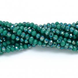 glaskraal rondel facet 6x8mm - streng van ongeveer 72 kralen (BGK-006-018) kleur dark green diamond coating
