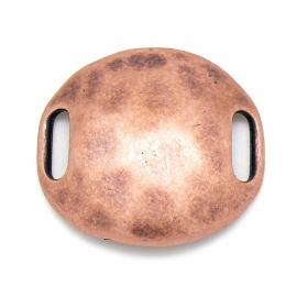 DQ metaal COPPER ANTIQUE schuifkraal rond hamerslag 34x37mm voor 10mm plat leer (B04-004-CA)