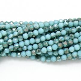 glaskraal rond facet 6mm - streng van ongeveer 100 kralen (BGK-002-015) kleur metallic light green diamond coating
