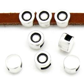 DQ metaal schuifkraal met setting voor SS20 en 5mm plat leer - maat 7.6x7.6mm - gat 2,5x5mm (B04-192-AS)