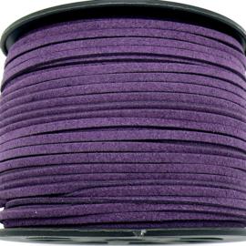 imitatie suede veter 3mm breed - 1m - kleur paars (LW-S028-44)