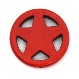 BJ349 keramiek kraal rond 25mm sherrifstar kleur rood