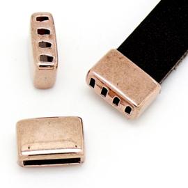 DQ metaal ROSE GOUD eindkap met 4 gaten voor 10mm breed leer maat 12x8mm - gat 2x10mm (B06-039-RG)