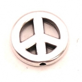 DQ metaal kraal peace 15mm - gat 1,5mm (B01-017-AS)