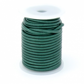 DQ rond leer 3mm - 1 meter - kleur METALIC EMERALD (no. 03/13)