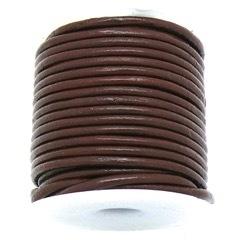 DQ rond leer 2mm - 1 meter - kleur MILKCHOCOLATE BROWN (no. 02/32)