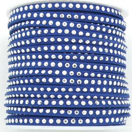 imitatie suede veter 3mm breed met zilveren studs - lengte 1m - kleur donkerblauw (LW-M001-04)