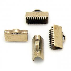DQ metaal lintklem 10mm brons maat 9.7x7.1mm