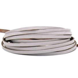 DQ leren band smal 5mm - 2,2 dik circa 100cm lang - kleur trend Paris Grey (PL05-041)