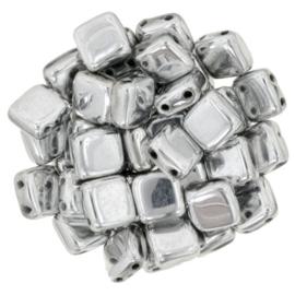 Czechmates Tile Bead maat 6mm - kleur Silver - 25 stuks