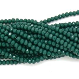 glaskraal rondel facet 3x4mm - circa 148 kralen (BGK-004-053) kleur darkgreen