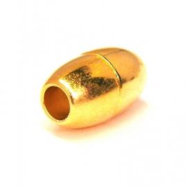 DQ metaal GOUD magneetsluiting ovaal voor 5mm rondleer 10x16mm (B07-011-SG)