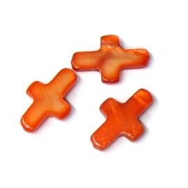 schelp kraal kruisje met schuin gat 8x13mm kleur oranje/rood (M3058)