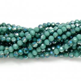 glaskraal rond facet 6mm - streng van ongeveer 100 kralen (BGK-002-018) kleur metallic dark green diamond coating