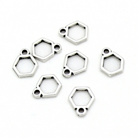 DQ metaal bedel klein hexagon frame maat 9x11mm (B02-148-AS)