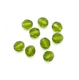 (BJG-028) glaskraal facet geslepen 8mm kleur peridot groen  - 10 stuks