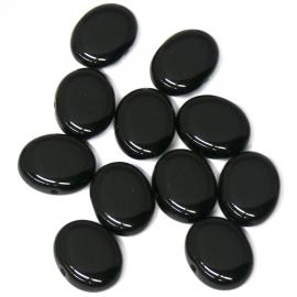 (BJZW008) glaskraal plat ovaal 1x13mm zwart