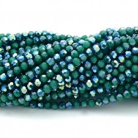 glaskraal rond facet 4mm - circa 98 kralen (BGK-001-031) kleur opaque dark green diamond coating diamond coating