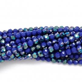 glaskraal rond facet 8mm -circa 35  kralen (BGK-003-027) kleur dark blue diamond coating