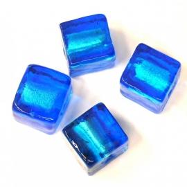 (BJBL-001) glaskraal blauw silverfoil vierkant 12mm  - 2 stuks