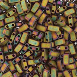 HTL-2035 Miyuki Half Tila 5x2,3mm - 5 gram - kleur matte metalic Khaki Iris