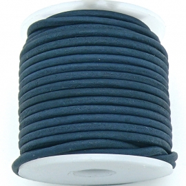 DQ rond leer 2mm - 1 meter - kleur ROYAL DARK VINTAGE BLUE (BRL-02-38)