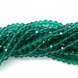 glaskraal rond facet 6mm - streng van ongeveer 100 kralen (BGK-002-004) kleur blue zircon
