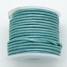 DQ rond leer 1,5mm - kleur Metalic Turquoise - 1 meter (BRL-01-39)