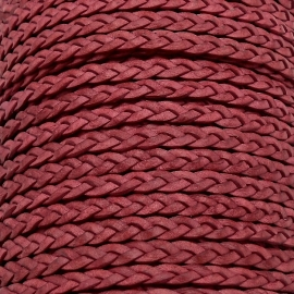 DQ plat gevlochten soft leather 6mm breed kleur vintage raspberry pink - 20 cm (BPGL-06-01)