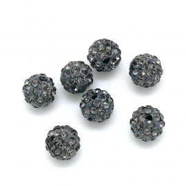 originele shamballa kraal clay 10mm gat 1mm, kleur black diamond (SD13997)