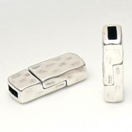 DQ metaal magneetsluiting hamerslag voor 5/6mm plat leer (gat 2.5x6mm) (B07-079-AS)