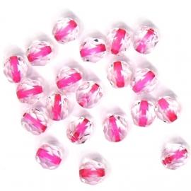 (BJRO-005) glaskraal rond roze kern facet geslepen 6mm  - 10 stuks