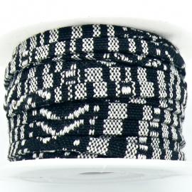 AZTEC Cord 5mm breed kleur multi zwart - 20cm (BAK-5-01) LET OP: GEEN LEER!!