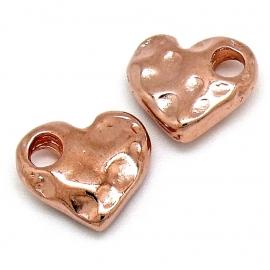 DQ metaal ROSE GOUD bedel hart hamerslag 16x18mm (B02-105-RG)