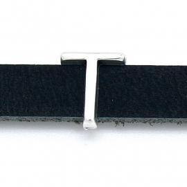 DQ metaal schuifkraal voor 10mm breed leer - letter T- maat 12x14mm - gat 2,5x10mm (B04-087-AS)