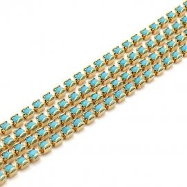 swarovski cupchain 27001 p18 setting GOLD - kleur opaque turquoise (prijs per 1 cm)