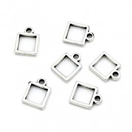 DQ metaal bedel klein vierkant frame maat 8x11mm (B02-146-AS)