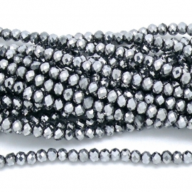 glaskraal rondel facet 3x4mm - circa 148  kralen (BGK-004-008) kleur Metalic White