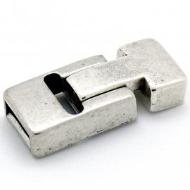 DQ metaal magneetsluiting T-shape maat 14x33mm gat 3x10mm (B07-070-AS)