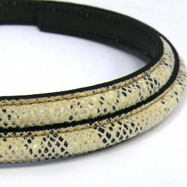 dubbel gestikt half ovaal leer met tunnelbuis 5x10mm - kleur creme snake - 20 cm