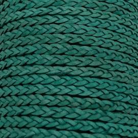 DQ plat gevlochten soft leather 6mm breed kleur vintage teal green - 20 cm (BPGL-06-02)