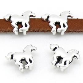 DQ metaal schuifkraal paard maat 9x13mm - gat maat 2,5x5mm (B04-169-AS)