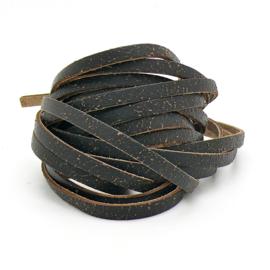 leren band smal 6mm dik ca.2mm ca. 90cm lang - kleur goby bruin (OL-07)